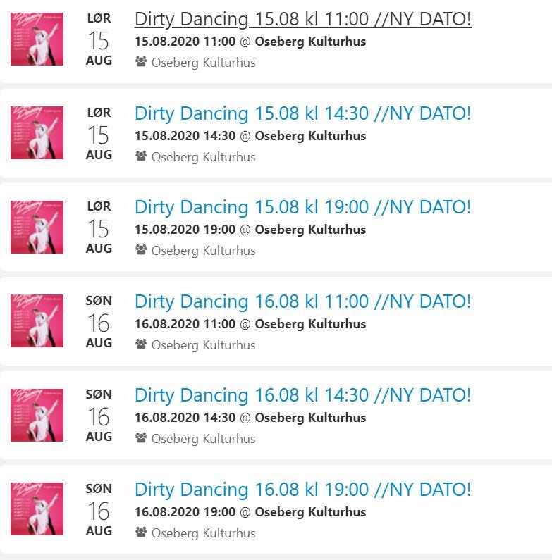 Ny Dato For «DIRTY DANCING- En Uforglemmelig Sommer»